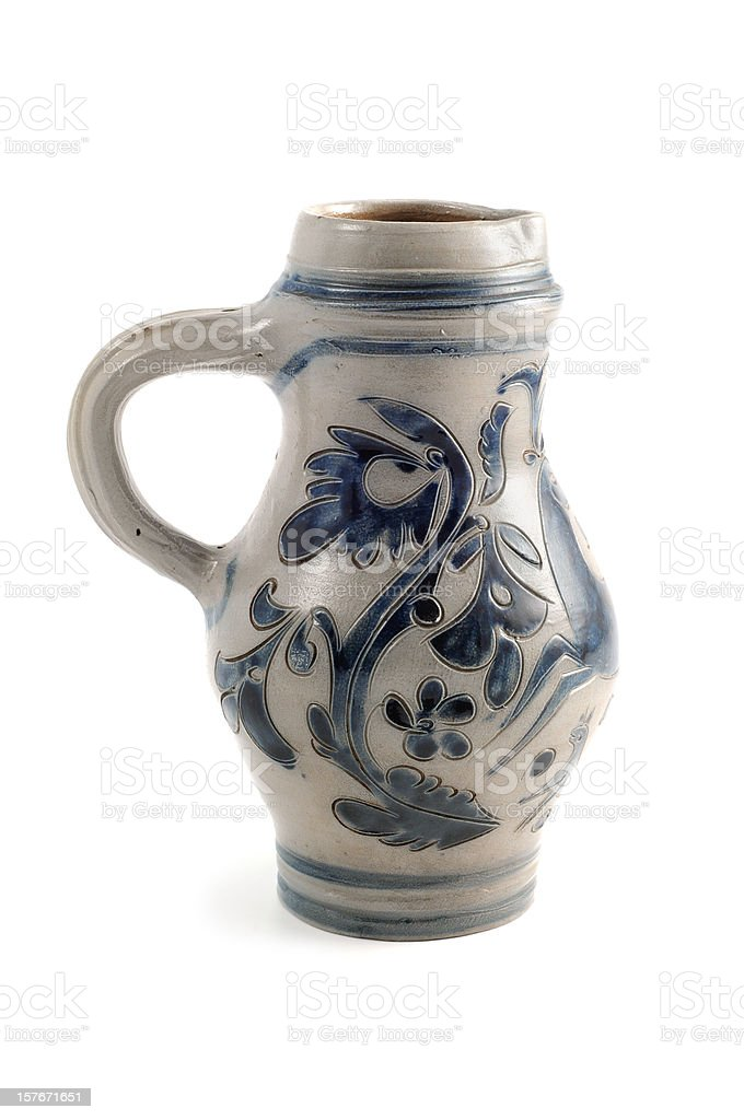 antique beer stein in blue grey with metal cap royalty-free stock photo