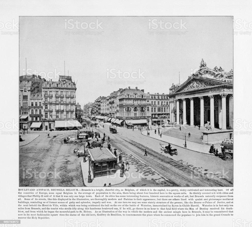 Antique Belgium Photograph: Boulevard Anspach, Brussels, Belgium, Holland, 1893 stock photo