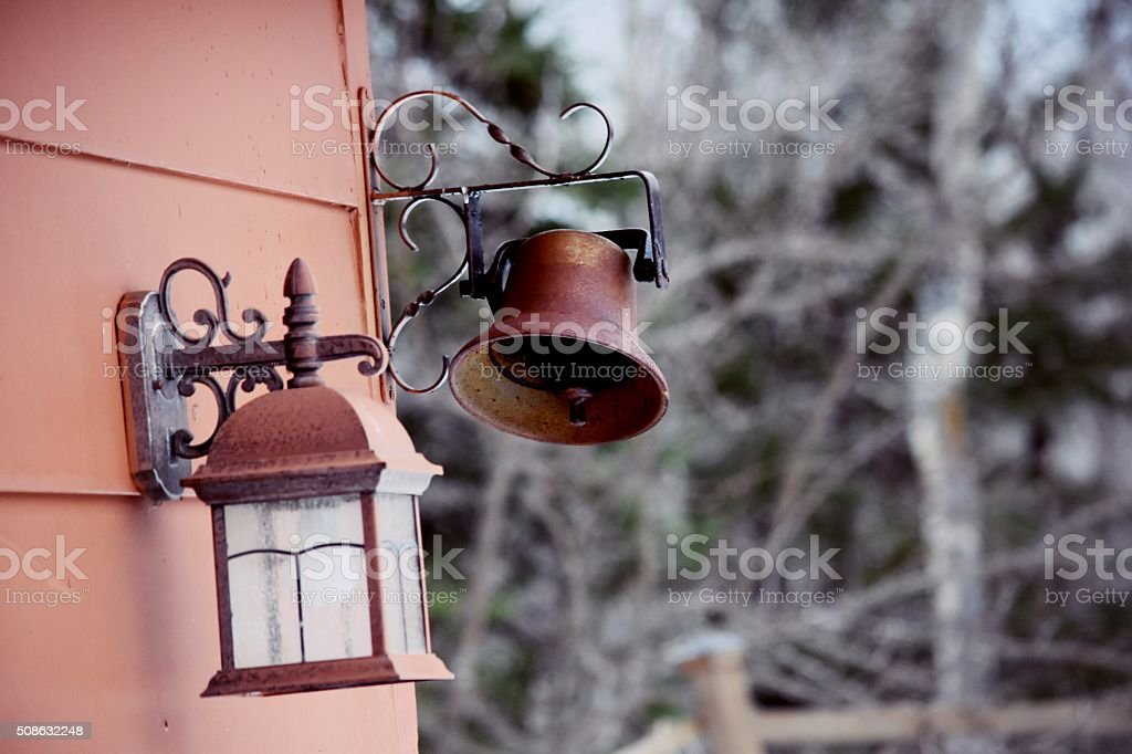 Antique Bell and Light Fixture royalty-free stock photo