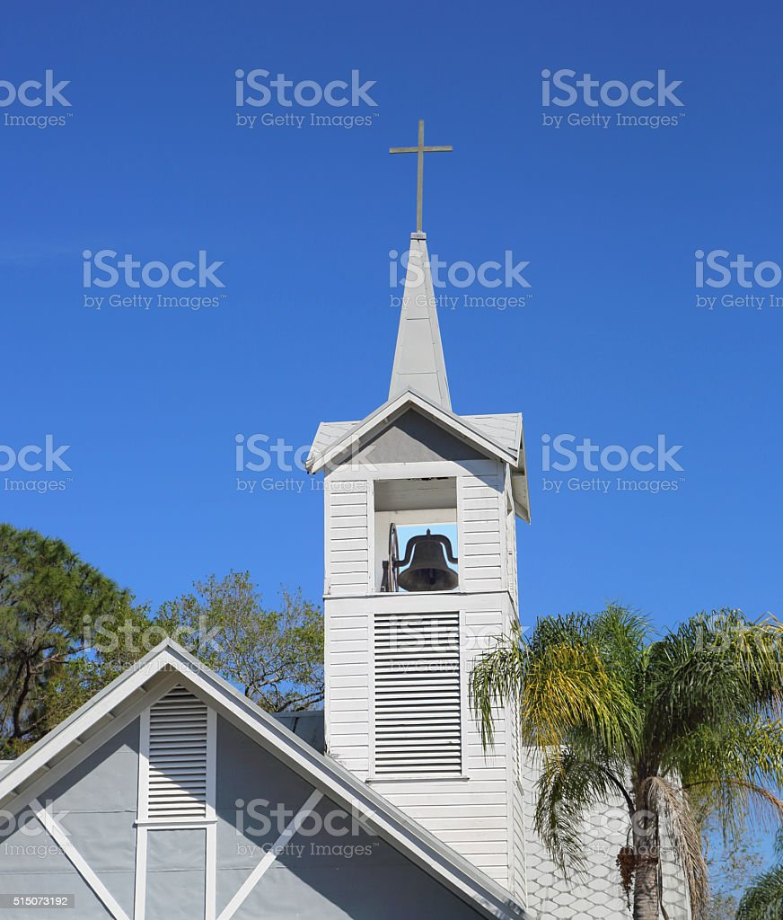 Antique bell tower in Fellsmere's chapel, Florida stock photo