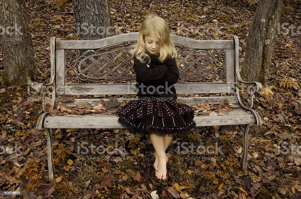 Antique Bench Girl royalty-free stock photo