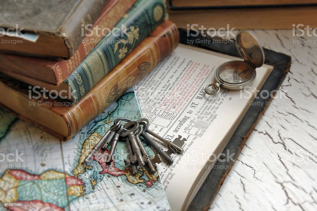 Antique Bible and Keys stock photo