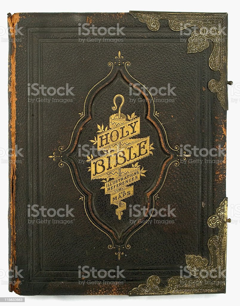 Antique Bible front cover with title royalty-free stock photo