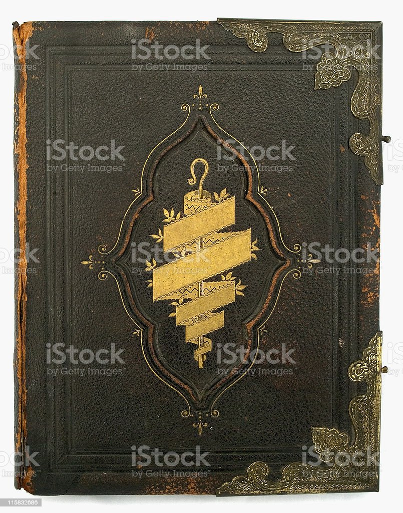 Antique Bible front cover with title removed royalty-free stock photo