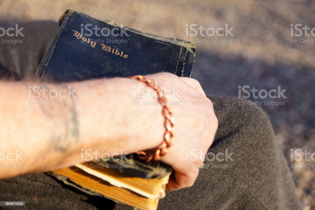 Antique Bible in Hand stock photo