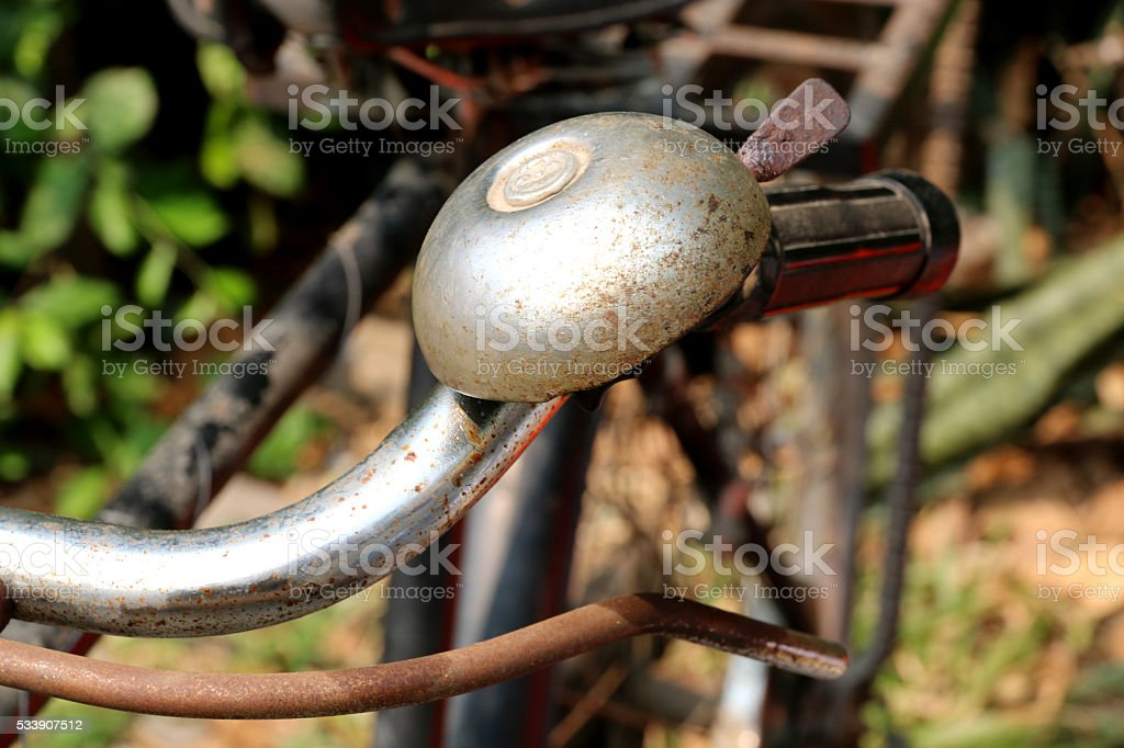 Antique bicycle bell stock photo