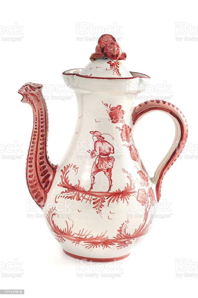 antique biedermeier Chinoiserie coffee pot with bird head tulle stock photo