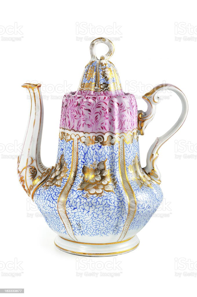 antique biedermeier (time 1815-1840) coffee pot hand painted royalty-free stock photo