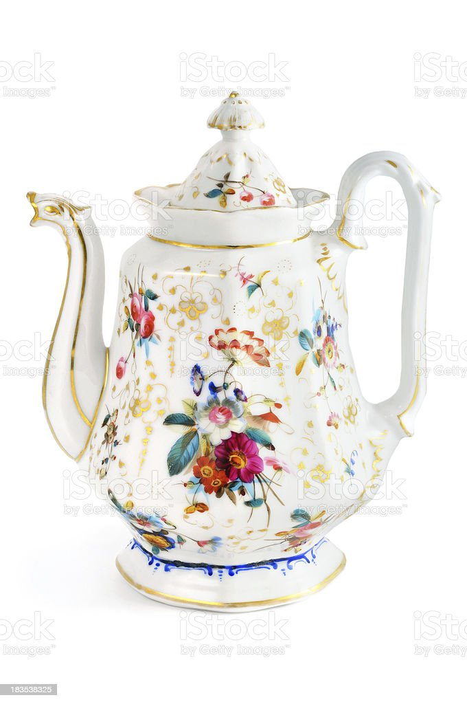 antique biedermeier (time 1815-1840) coffee pot with animal head flowers stock photo
