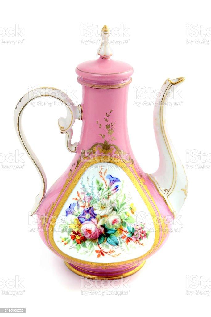 antique Biedermeier coffee pot with flowers stock photo