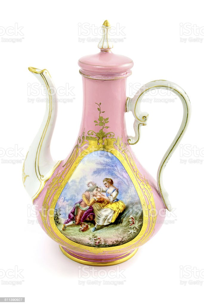 antique Biedermeier coffee pot with painting stock photo