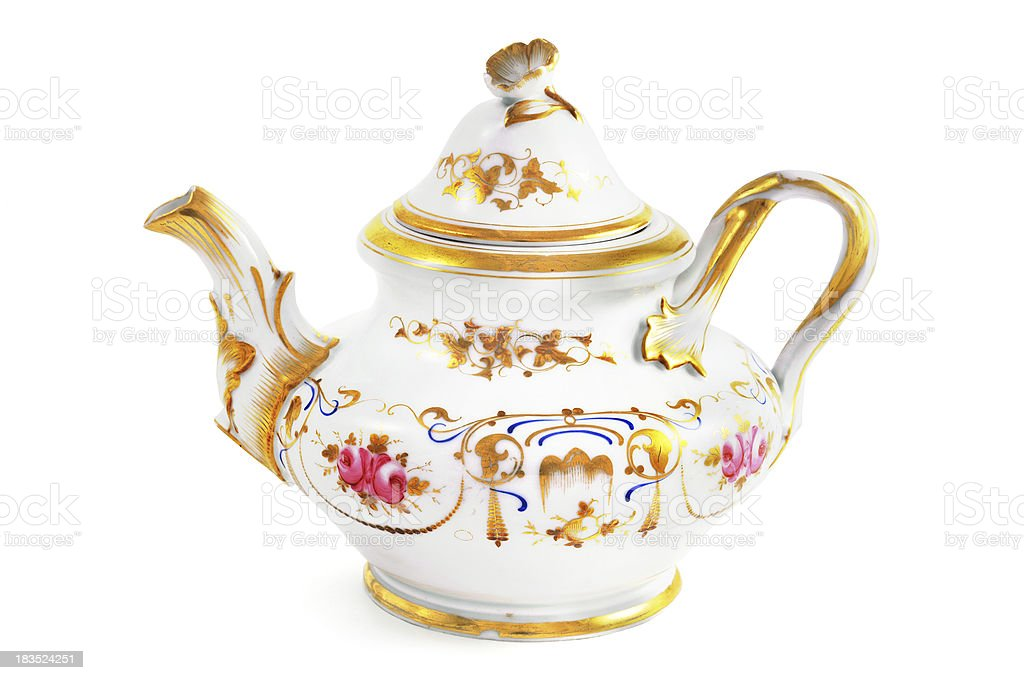 antique biedermeier (time 1815-1840) coffee pot with roses stock photo