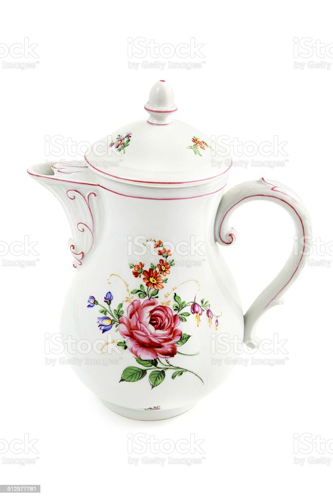 antique Biedermeier coffee pot with roses stock photo