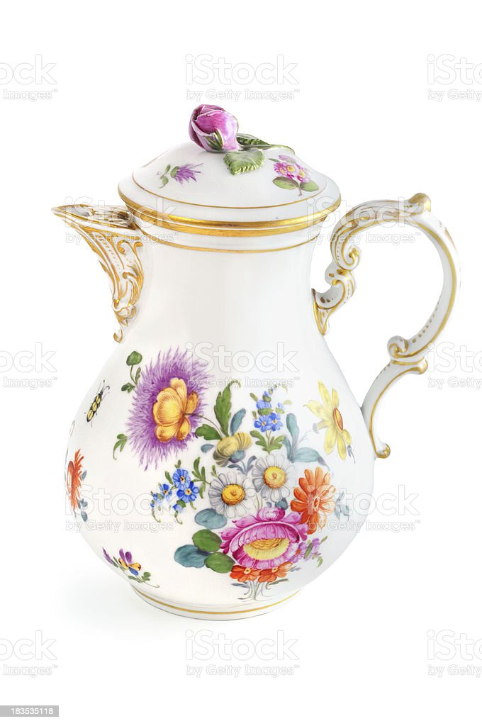 antique biedermeier (time 1815-1840) coffee pot with roses tulip butterfly stock photo