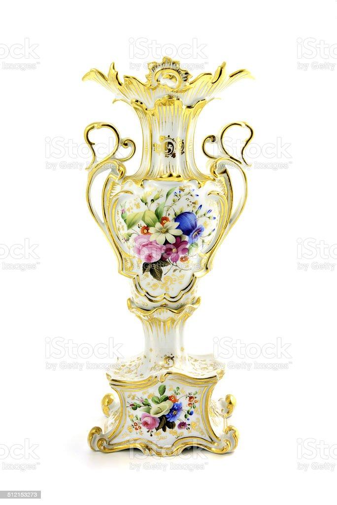 antique Biedermeier vase with flowers stock photo