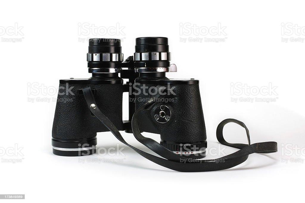 Antique Black Binoculars Isolated on White Background Profile stock photo