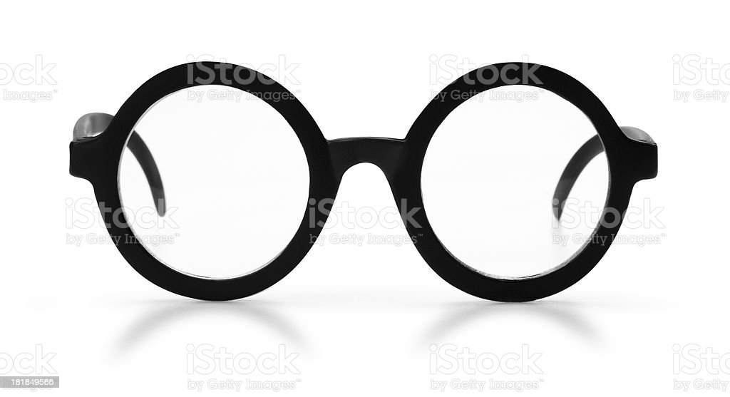 Antique Black Rim Glasses on a White Background royalty-free stock photo