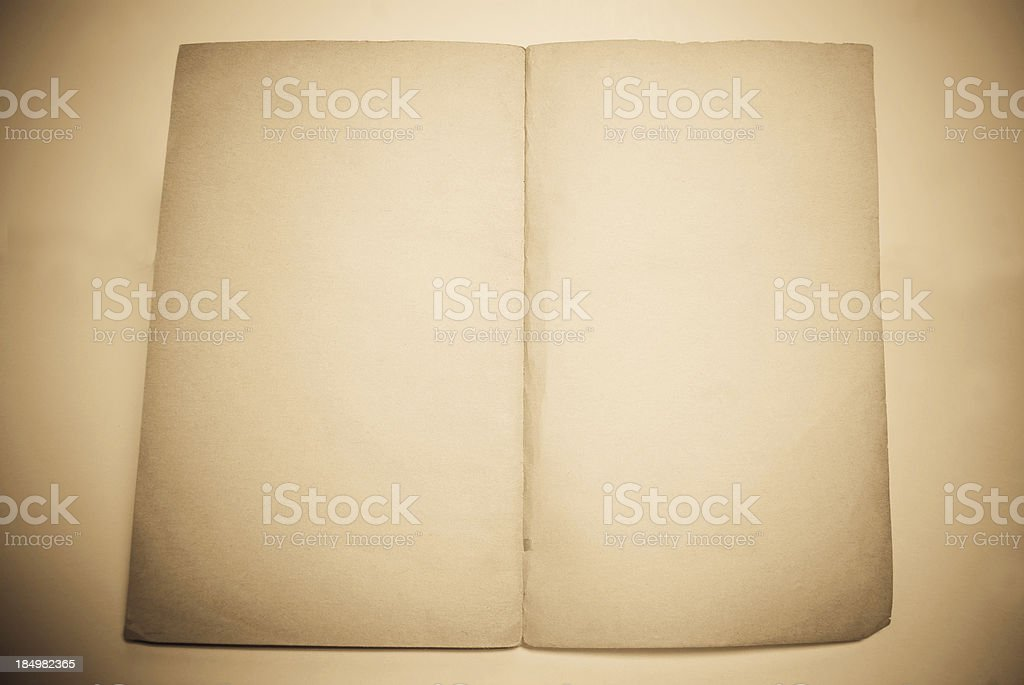 antique blank booklet pages background in sepia stock photo