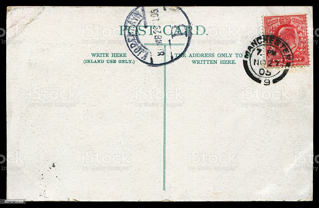 Antique blank postcard from England to Germany in early 1900s stock photo