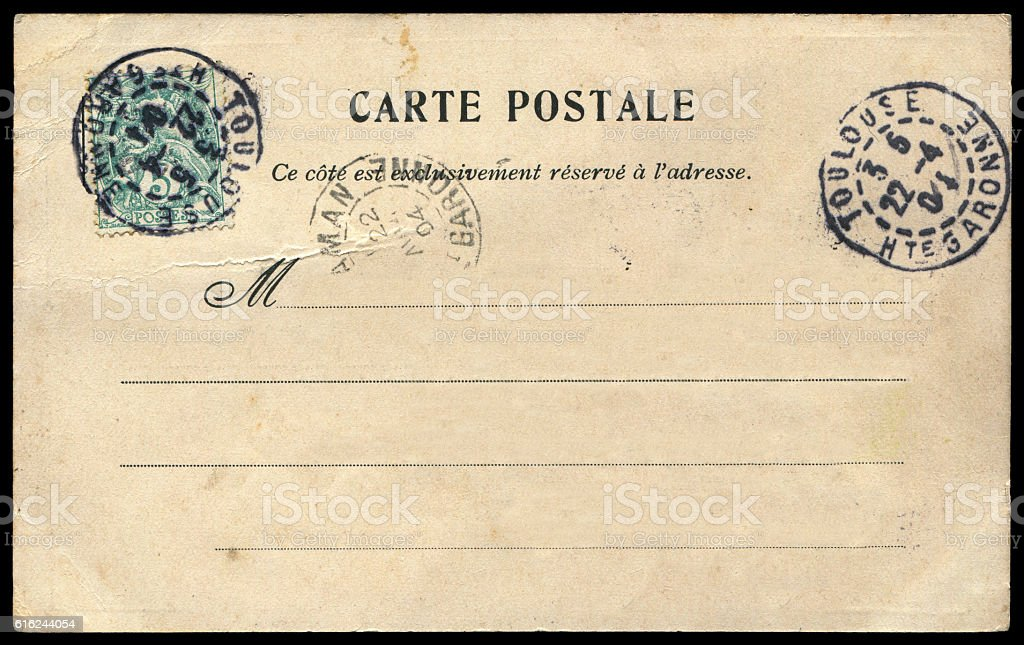 antique blank postcard from France in early 1900s stock photo