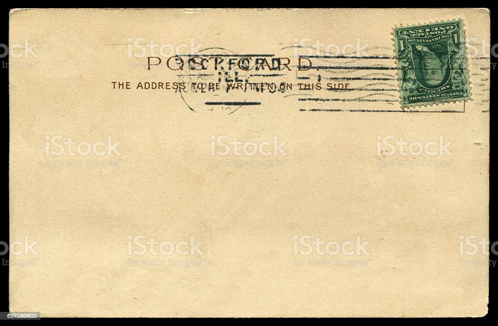 antique blank postcard from USA in early 1900s stock photo