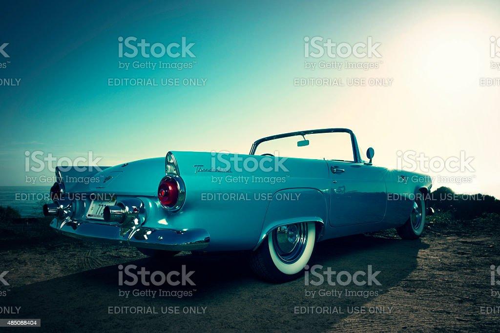 Antique Blue Convertible Ford Thunderbird stock photo