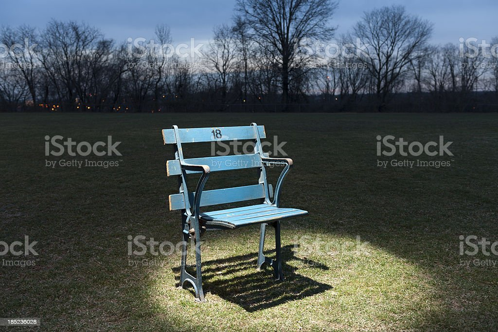 Antique blue stadium seat spot lit on field at twilight royalty-free stock photo