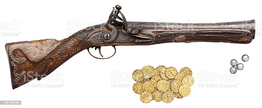Antique Blunderbuss Gun, Round Shot and Gold Coins. White Background. stock photo