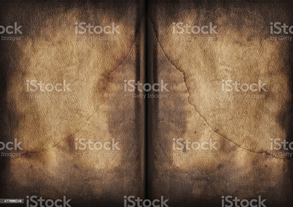 Antique Book Blank Pages Burnt Mottled Vignette Grunge Texture stock photo