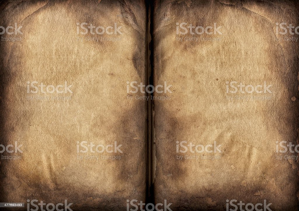 Antique Book Blank Pages Crumpled Burnt Vignette Grunge Texture royalty-free stock photo