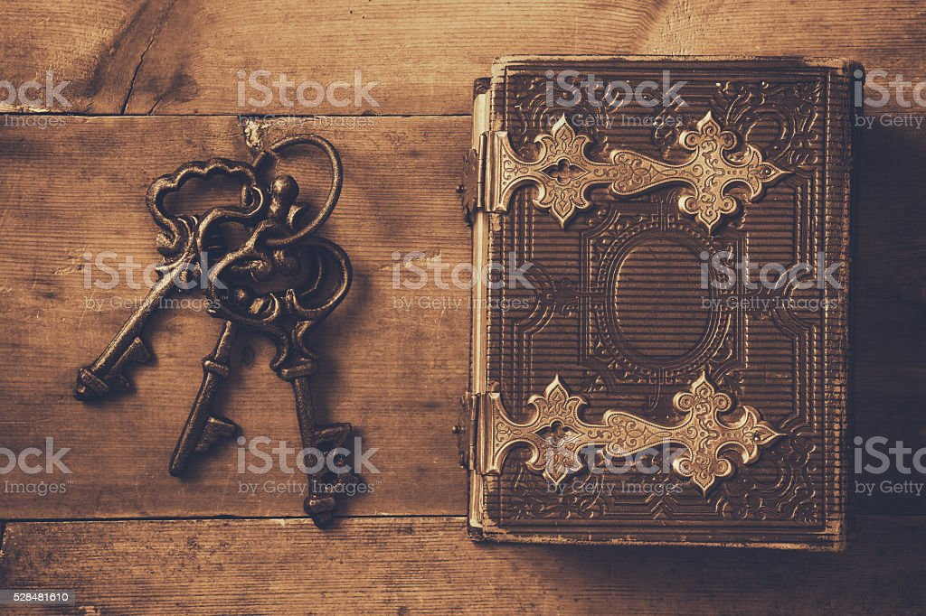 antique book cover, with brass clasps stock photo