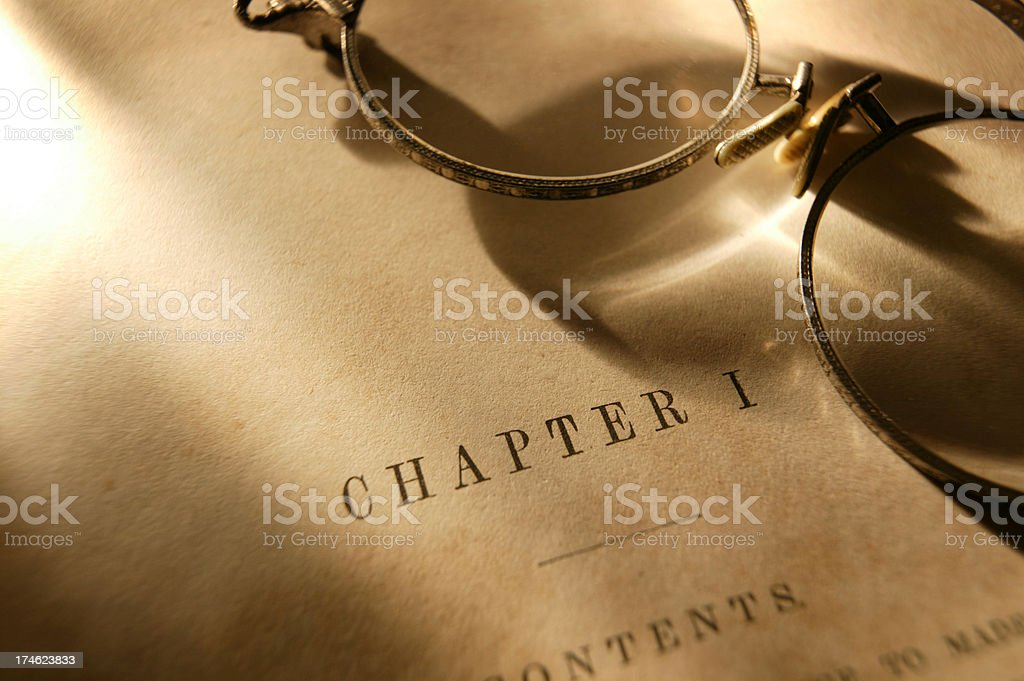 Antique Book & Eyeglasses stock photo