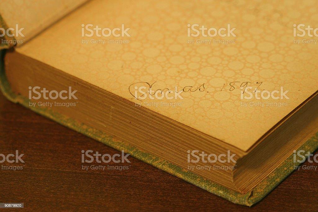 Antique Book Inscription - Christmas 1897 royalty-free stock photo