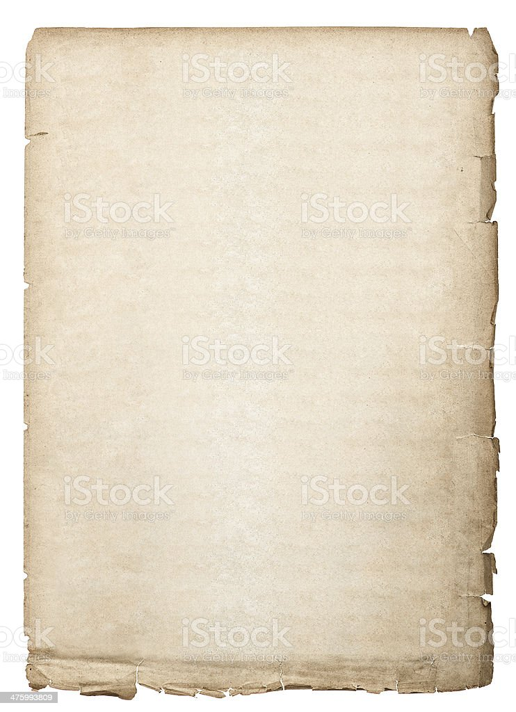 antique book page. old paper sheet isolated on white stock photo