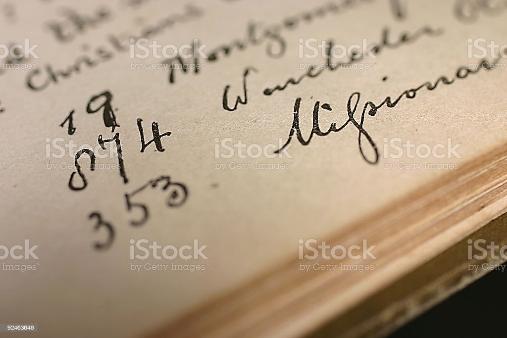 antique book with old writing royalty-free stock photo