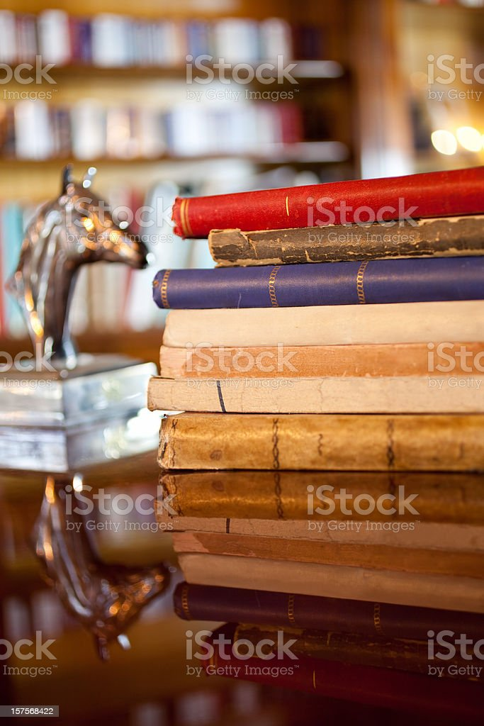 antique books and horse head royalty-free stock photo