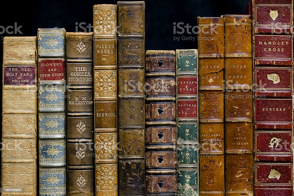 Antique Books on a Shelf stock photo