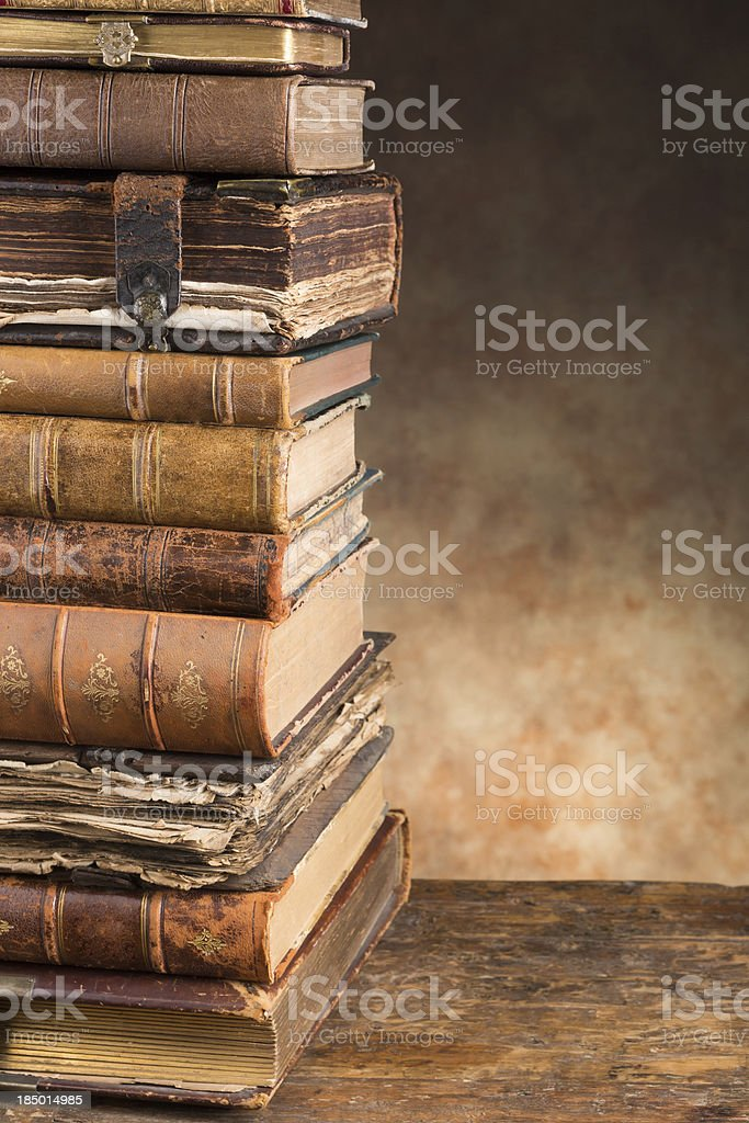 Antique books with copy space stock photo