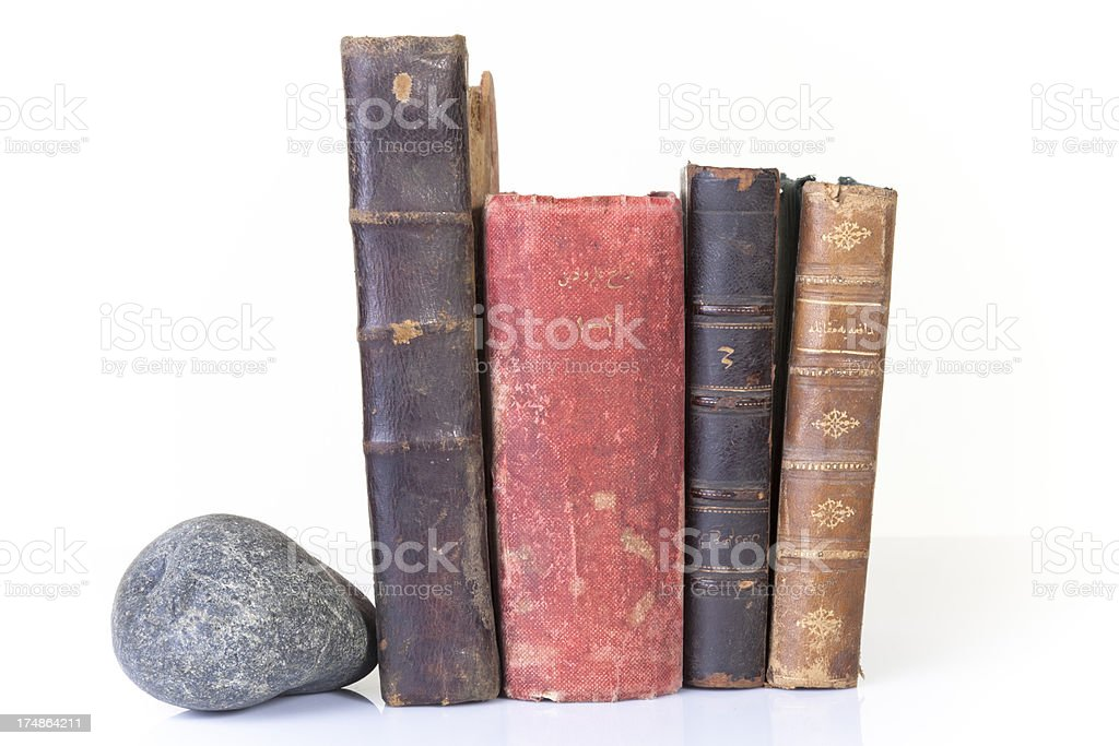 Antique Books with stone royalty-free stock photo