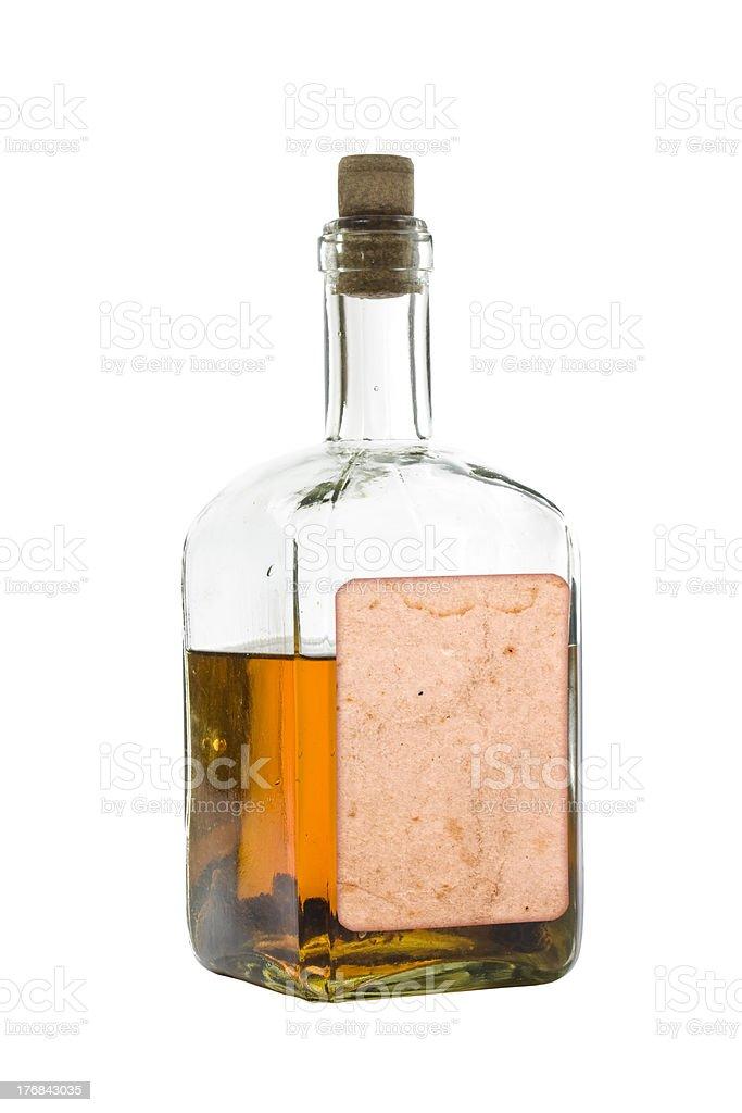 Antique bottle of spirits stock photo