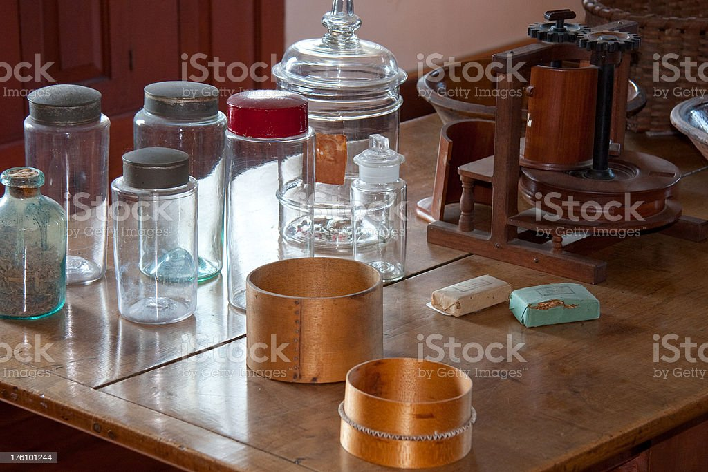 Antique Bottles and Boxes royalty-free stock photo