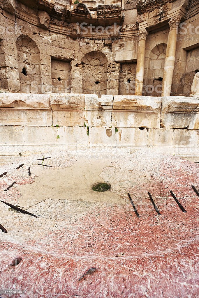 antique bowl near Artemis temple in ancient town Jerash stock photo