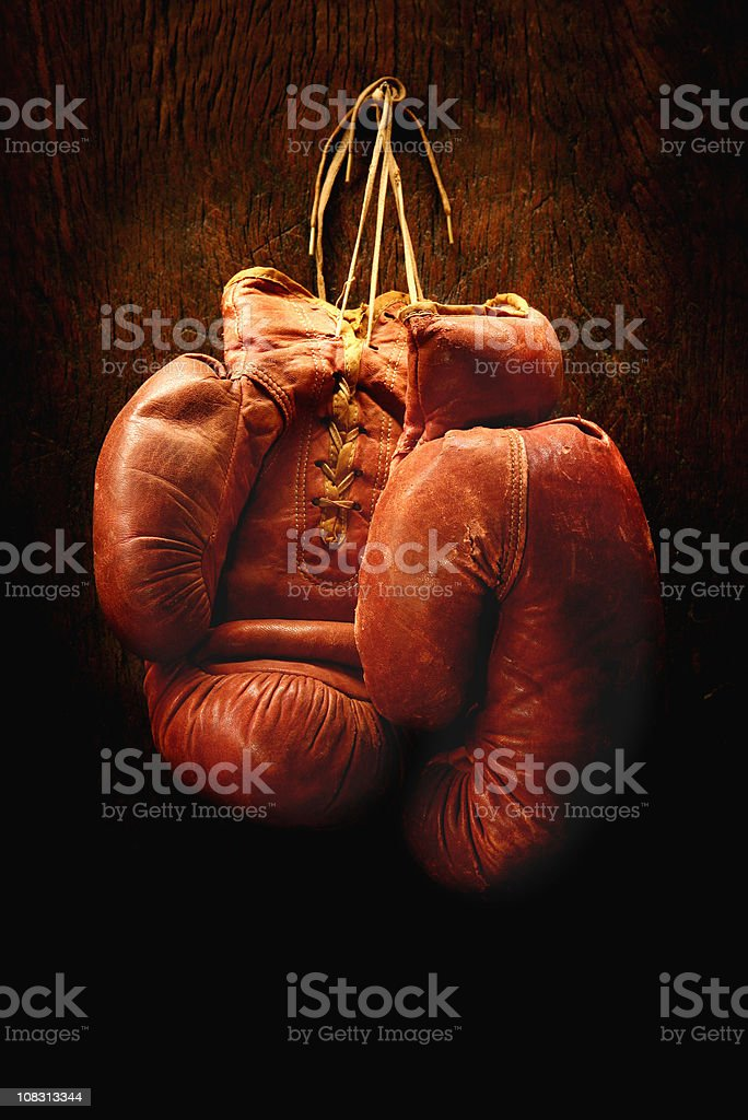 Antique Boxing Gloves royalty-free stock photo