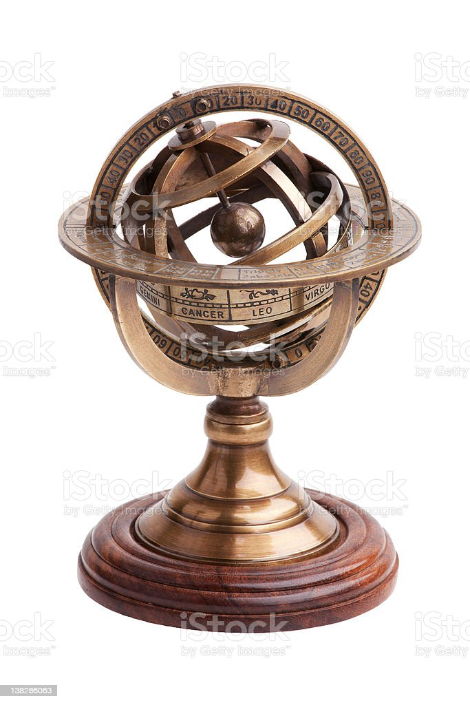 Antique brass armillary sphere on a wooden stand royalty-free stock photo