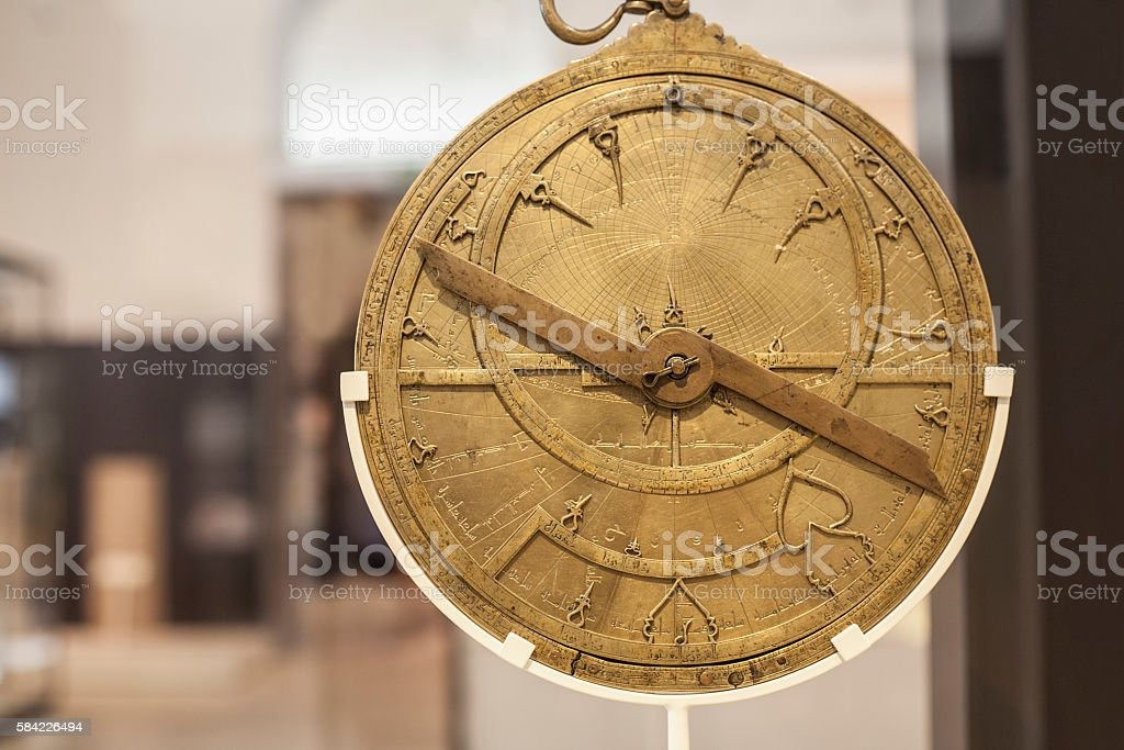 Antique brass astrolabe stock photo