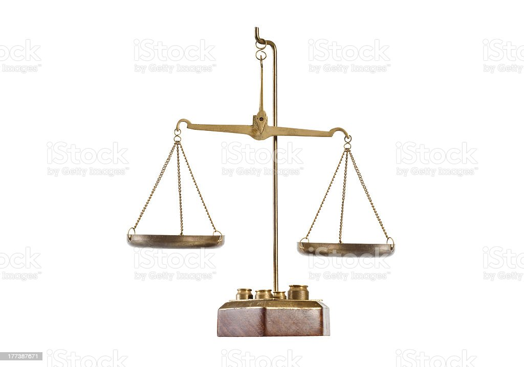 Antique brass balance scale royalty-free stock photo