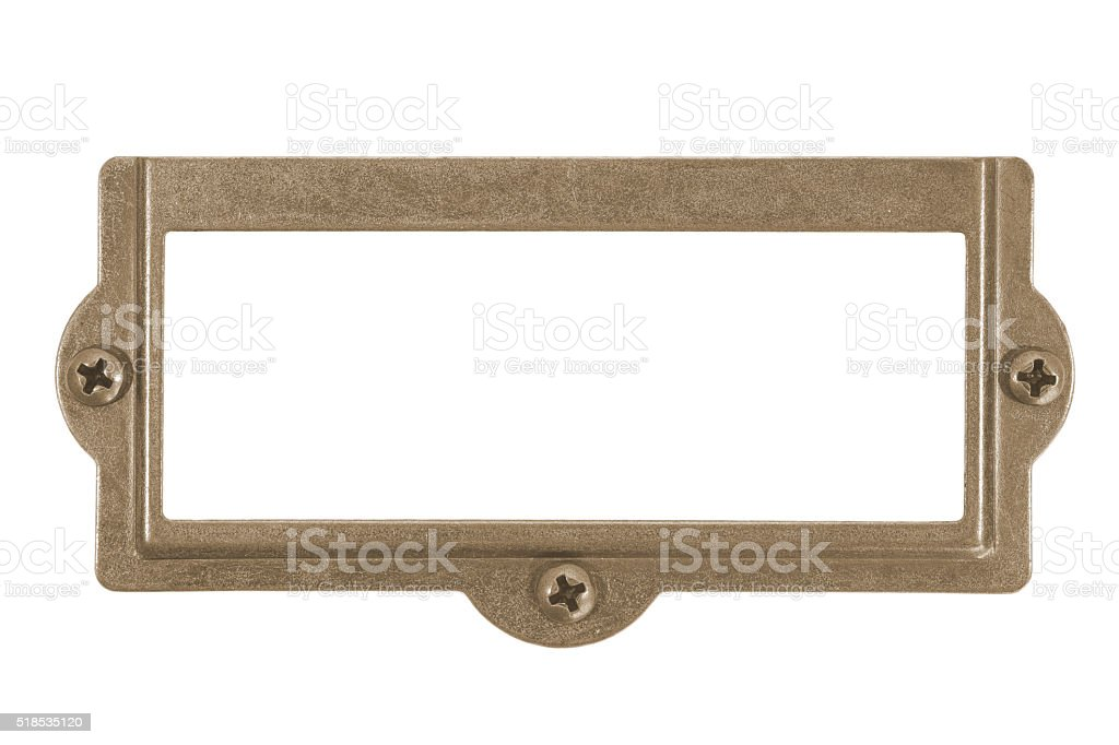 Antique brass name plate isolated on white background stock photo