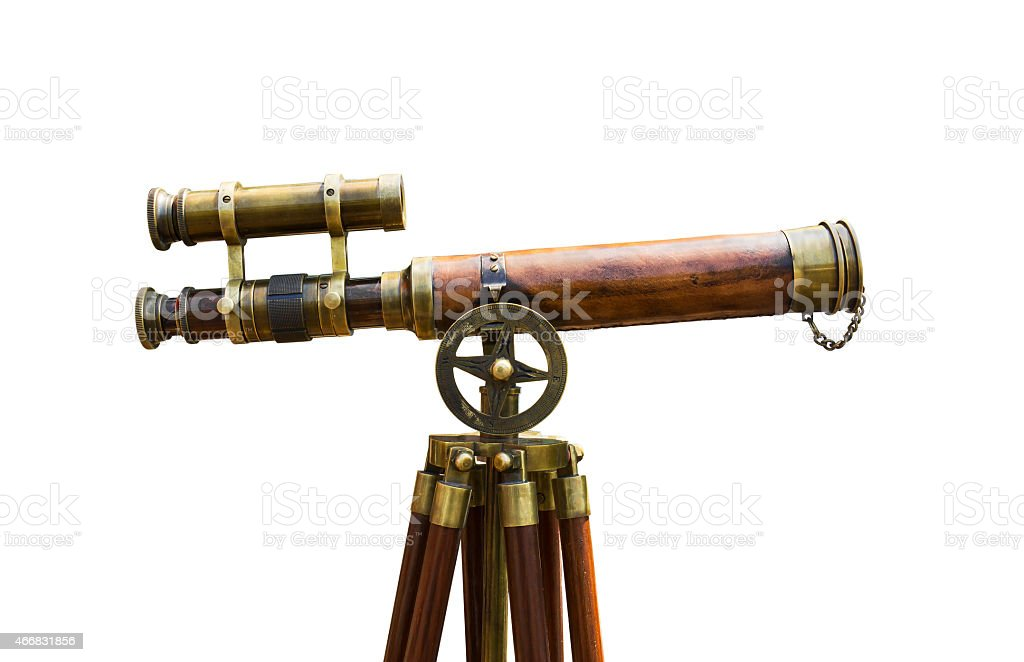 Antique brass telescope stock photo