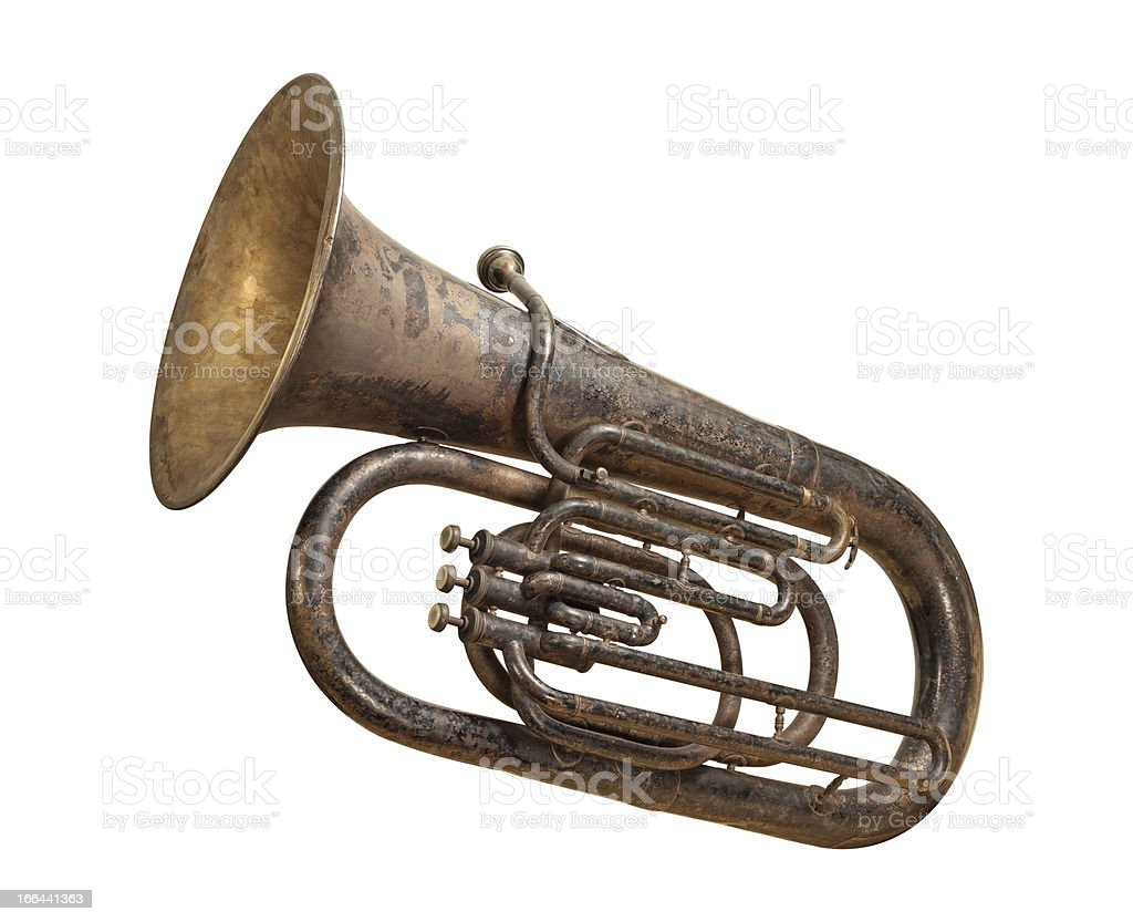 Antique Brass Tuba with a clipping path stock photo