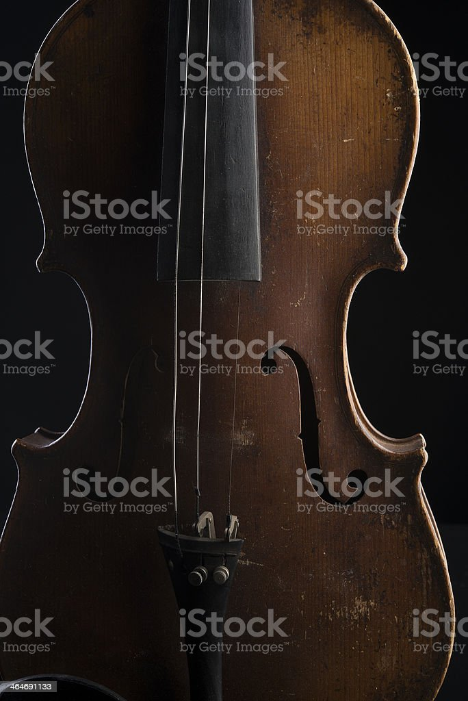 Antique Broken Violin stock photo